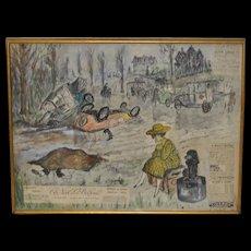 "Edward Plunkett (b.1922) ""European Tragedy"" Tempera & Collage on Paper c.1959"
