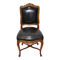 Vintage Italian Carved Walnut Chair w/ Black Leather Upholstery c.1970