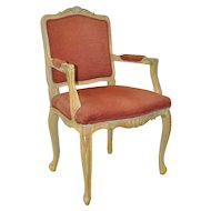 Vintage French Carved, Painted & Upholstered Arm Chair c.1950