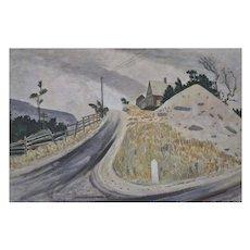 "Armin LANDECK Original Painting - ""Massachusetts Crossroads"" c.1946"