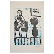 "Arthur Krakower (American, 1921-2009) ""Girl Seated with Flowers"" Original Monotype c.2004"