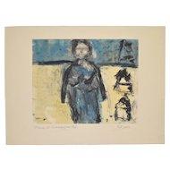 "Arthur Krakower (California, 1921-2009) ""Mama at Rockaway"" Monotype c.2004"