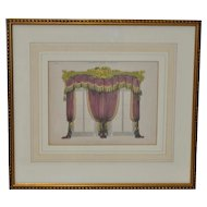 """Antique Interior Design Hand Colored Engraving """"Drawing Room Curtains"""" c.1827"""