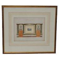 """Antique Interior Design Hand Colored Engraving """"Interior Decoration"""" c.1827"""