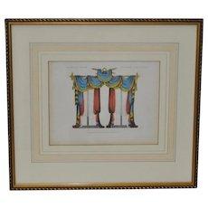 "Antique Interior Design Hand Colored Engraving ""Window Curtrains"" c.1826"