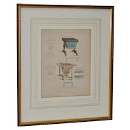 """Antique Engraving of a Cabinet Maker Drawing """"Work / Game Table"""" c.1826"""