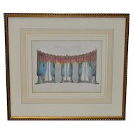 """Antique Interior Design Hand Colored Engraving """"Curtains for a Gothic Room"""" c.1826"""