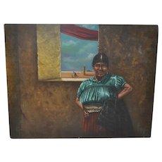 Carlo Wahlbeck Vintage Native American Surrealism Oil Painting c.1970s