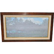 """Frank Magsino Oil Painting """"Misty Landscape with Covered Bridge c.1970s"""