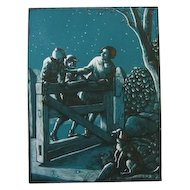 "Allen Lewis Woodcut ""Swinging The Gate"""