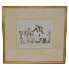 """Early 19th Century Hand Colored French Engraving """"New Years Gifts"""" c.1820s"""
