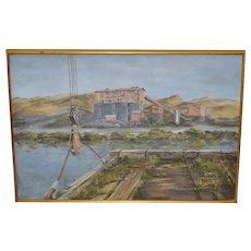 Hutchinson Co. Quarry (Dirty Harry, Larkspur Landing) Original Marin County Oil Painting c.1960