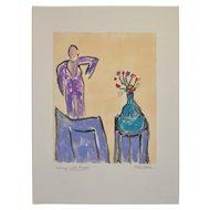 "Arthur Krakower (1921-2006) Original Monotype ""Interior with Flowers"" c.2004"