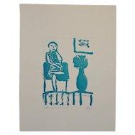 "Arthur Krakower (1921-2006) ""Seated Woman With Flowers"" Original Monotype c.2004"