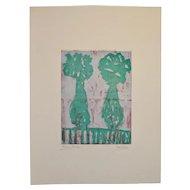 "Arthur J. Krakower Monotype ""Twin Vases"" c.2004"