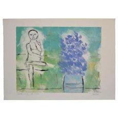 "Arthur Krakower ""Seated Woman With Flowers"" Original Monotype c.2004"