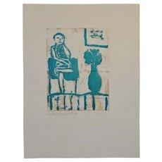 "Arthur Krakower ""Seated Woman With Flowers II"" Monotype c.2004"