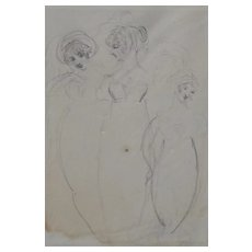 William Etty (1787-1849) Figural Sketch of Three Women c.1840s