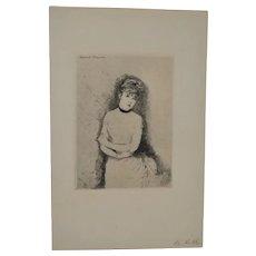"""Giuseppe de Nittis """"Jeune Femme"""" Drypoint Etching c.1884"""