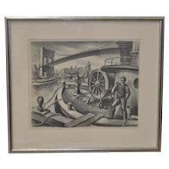"Jack McMillen ""Fire Boat - Brooklyn Bridge"" Original Pencil Drawing c.1936"