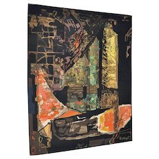 """Abstract Woven Wool Tapestry """"Nocturne"""" by Mathieu Mategot c.1950s"""