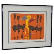 """Marino Marini (Italian, 1901-1980) """"Chevaux et Cavaliers"""" Artist Proof Pencil Signed c.1970"""