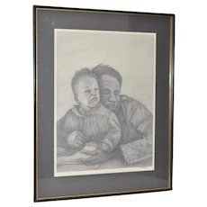 African American Father and Son Portraits in Pencil c.1960s