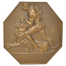 Austrian Art Deco Bronze Medallion Man and Lion