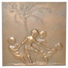 Art Nouveau Bronze Plaque by Stephan Schwartz (Austria, 1851-1924)