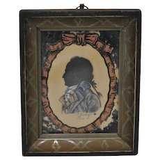 18th Century Reverse Painted Silhouette Portrait of a Gentleman