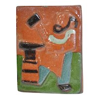 Miniature Glazed Ceramic Tile of a Blacksmith by Winther, Denmark