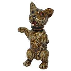 Antique German Iron & Enamel Miniature Bobblehead Dog Stamped
