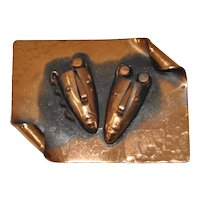 Francisco Rebajes Hammered Copper Theatre Masks Brooch