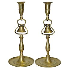 19th Century Brass Tavern Bell Candlesticks