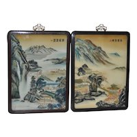 Pair of Chinese Landscape Reverse Glass Paintings Early 20th Century
