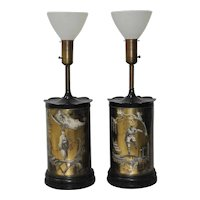Pair of Vintage Eglomise Reverse Painted Table Lamps c.1940s