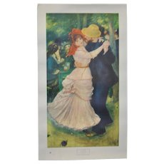 "Vintage Renoir ""Bal a Bougival"" Exhibition Poster Museum of Fine Arts Boston, MA c.1949"