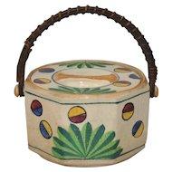 Art Deco Japanese Hand Painted Ceramic Cookie Jar w/ Handle c.1920s