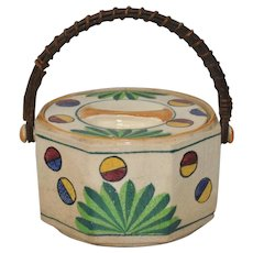 Art Deco Japanese Hand Painted Ceramic Cookie Jar w/ Handle c.1920s