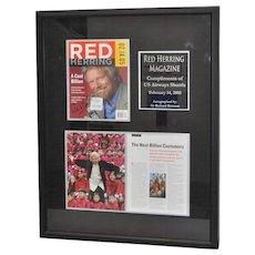 Framed Richard Branson Autograph on Red Herring Magazine