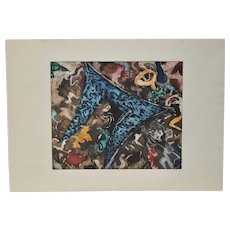 """Abstract Etching w/ Aquatint """"Mohawk"""" by S. Ruds"""