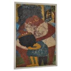 "ARIJAC Vintage Haitian Painting ""Combing Hair"" c.1964"