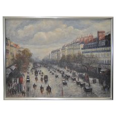 Parisian Street Scene Oil Painting by James Fan c.1970s