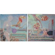 Spectacular Tropical Pointillism Diptych Paintings c.1988