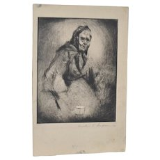 "Fine Art Etching ""Old Woman w/ Cup"" c.1923 by Cornelius Sampson"