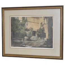 "Luigi Kasimir Etching w/ Aquatint ""Seebenstein Castle, Austria"" Pencil Signed"