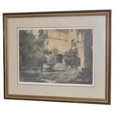 "Luigi Kasimir Etching w/ Aquatint ""Seebenstein Castle, Austria"" Pencil Signed"