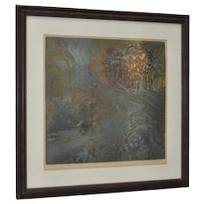 """Vintage Abstract Etching w/ Aquatint """"Canyon"""" Pencil Signed"""
