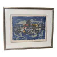 "Lebadang (Vietnam, 1922-2015) ""Boats"" Pencil Signed Color Lithograph c.1960s"
