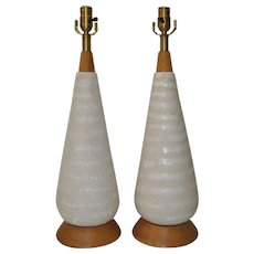 Pair of Vintage White Lava Glaze Table Lamps w/ Teak Base and Crown c.1950s